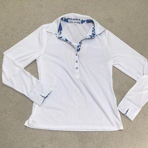 White collared long sleeved golf shirt
